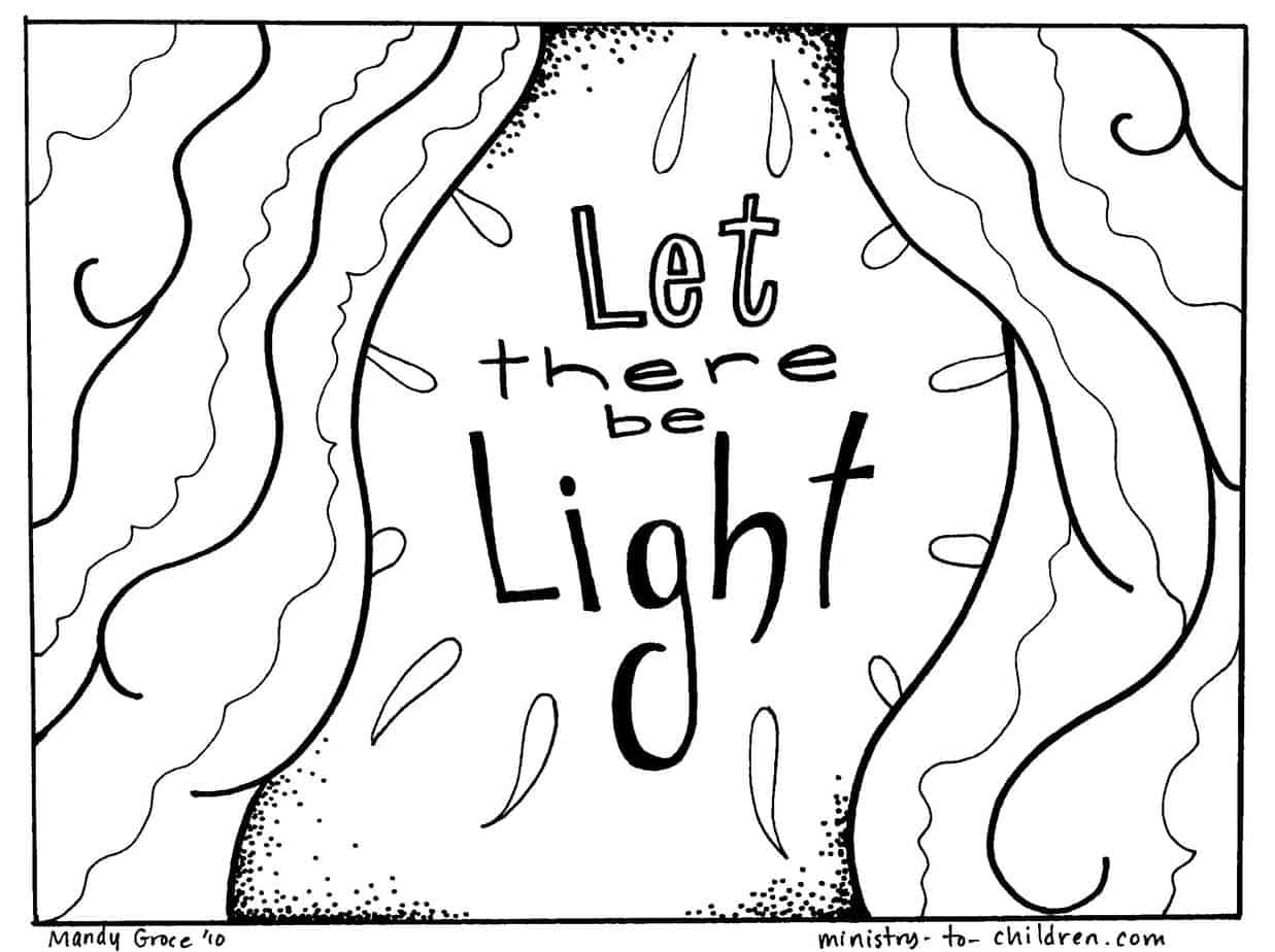 """Free Creation Coloring Pages """"Let There Be Light"""""""