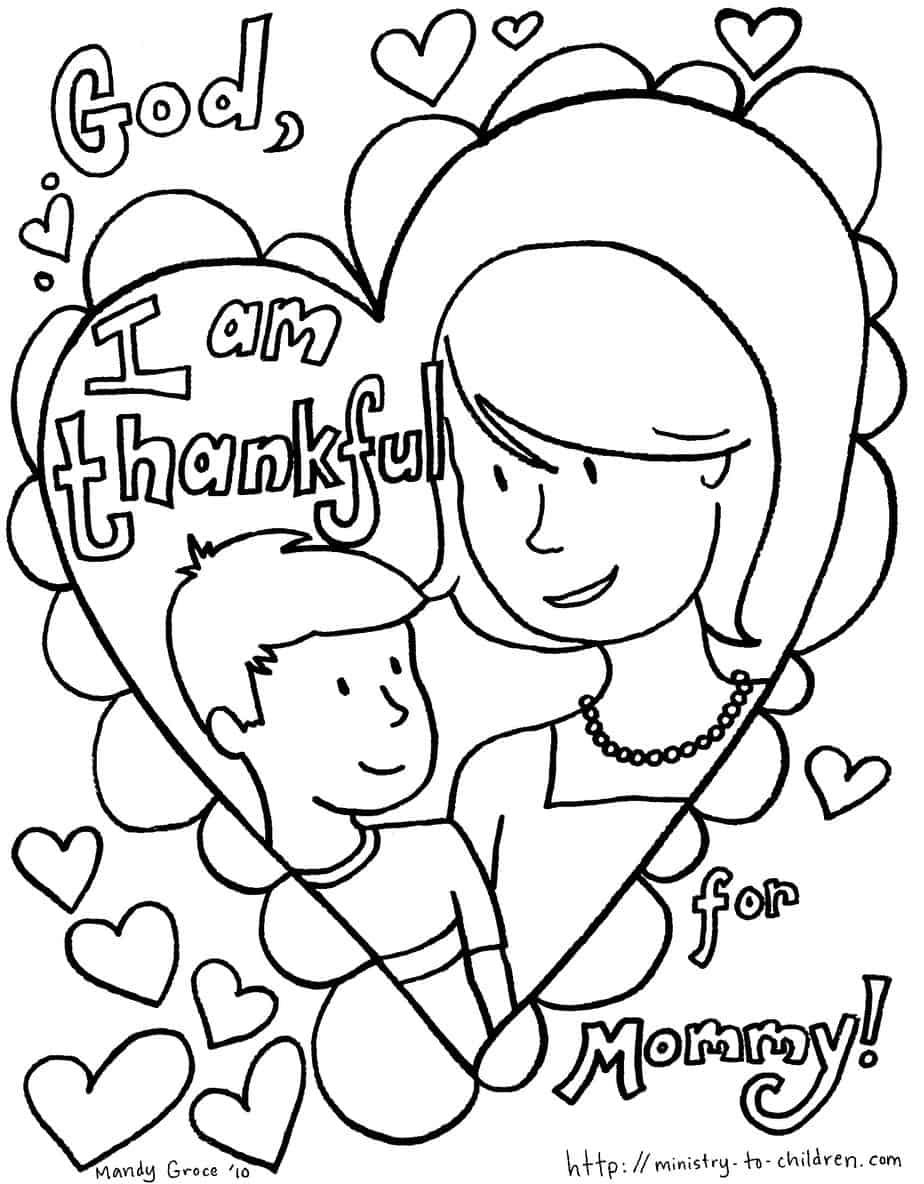 Free printable coloring pages mothers day - Coloring Sheet 1 Boy Version I Am Thankful For Mommy