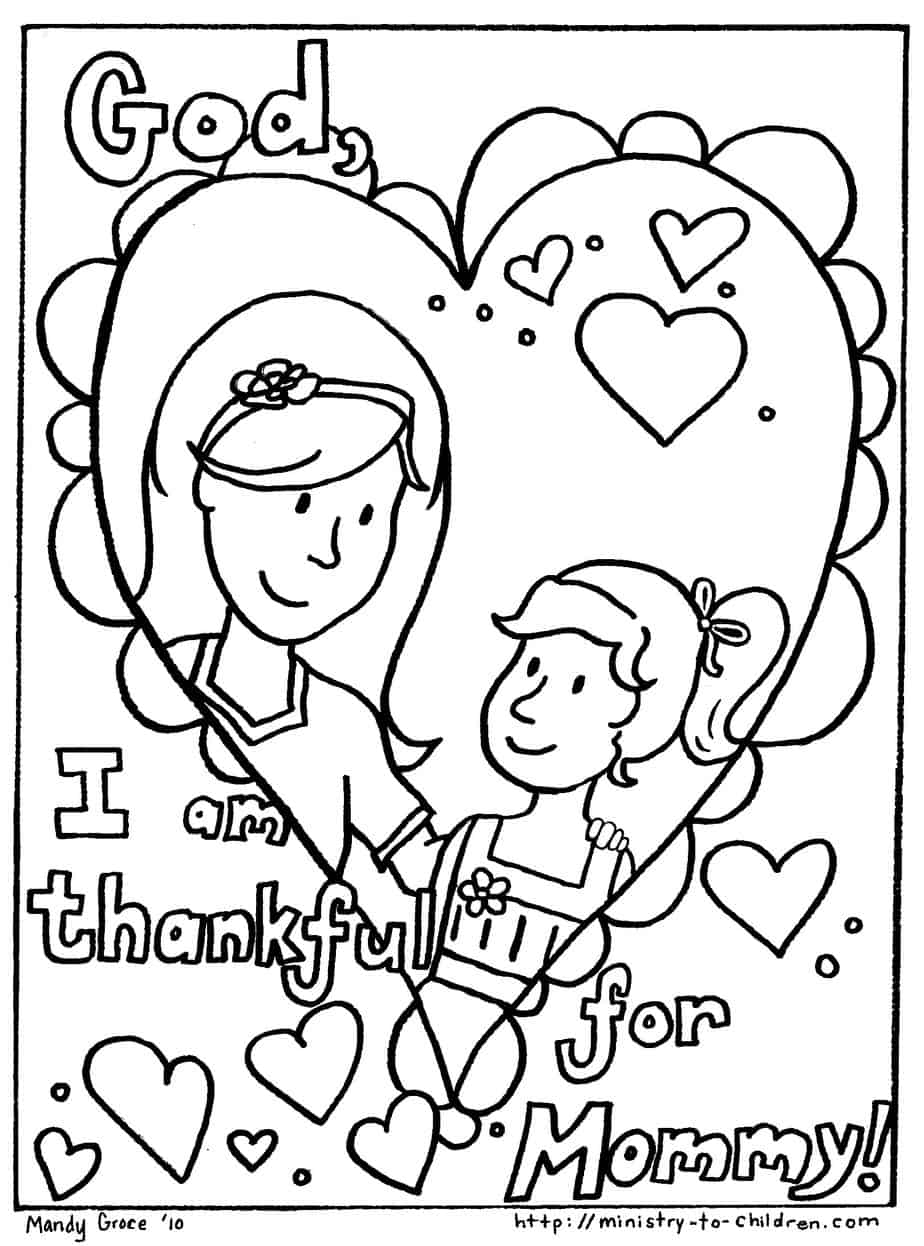 Free printable coloring pages mothers day - Coloring Sheet 2 Girl Version I Am Thankful For Mommy