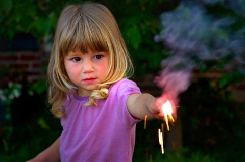 Young girl with sparklers