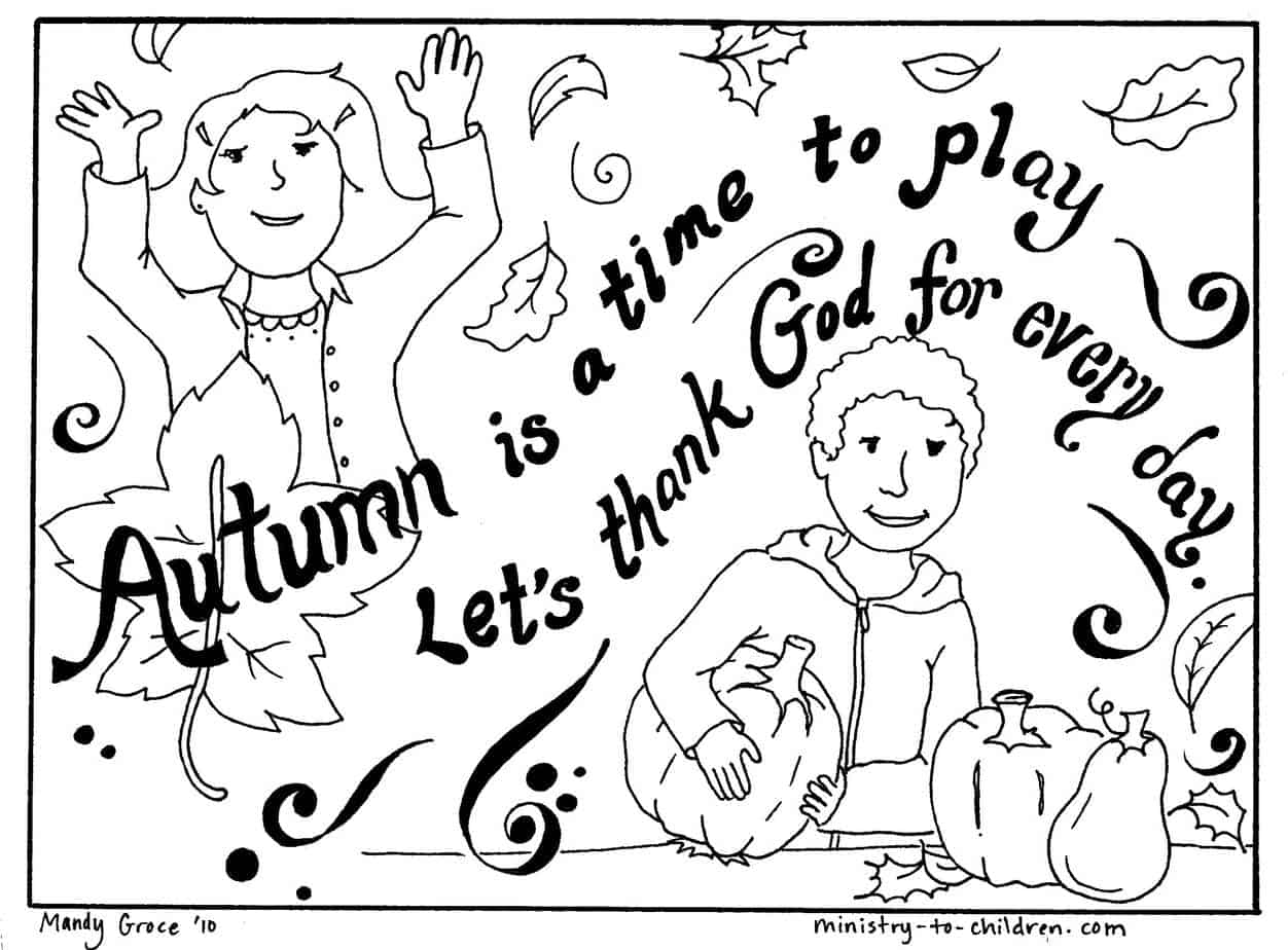 """Autumn Coloring Page """"Let's Thank God"""""""