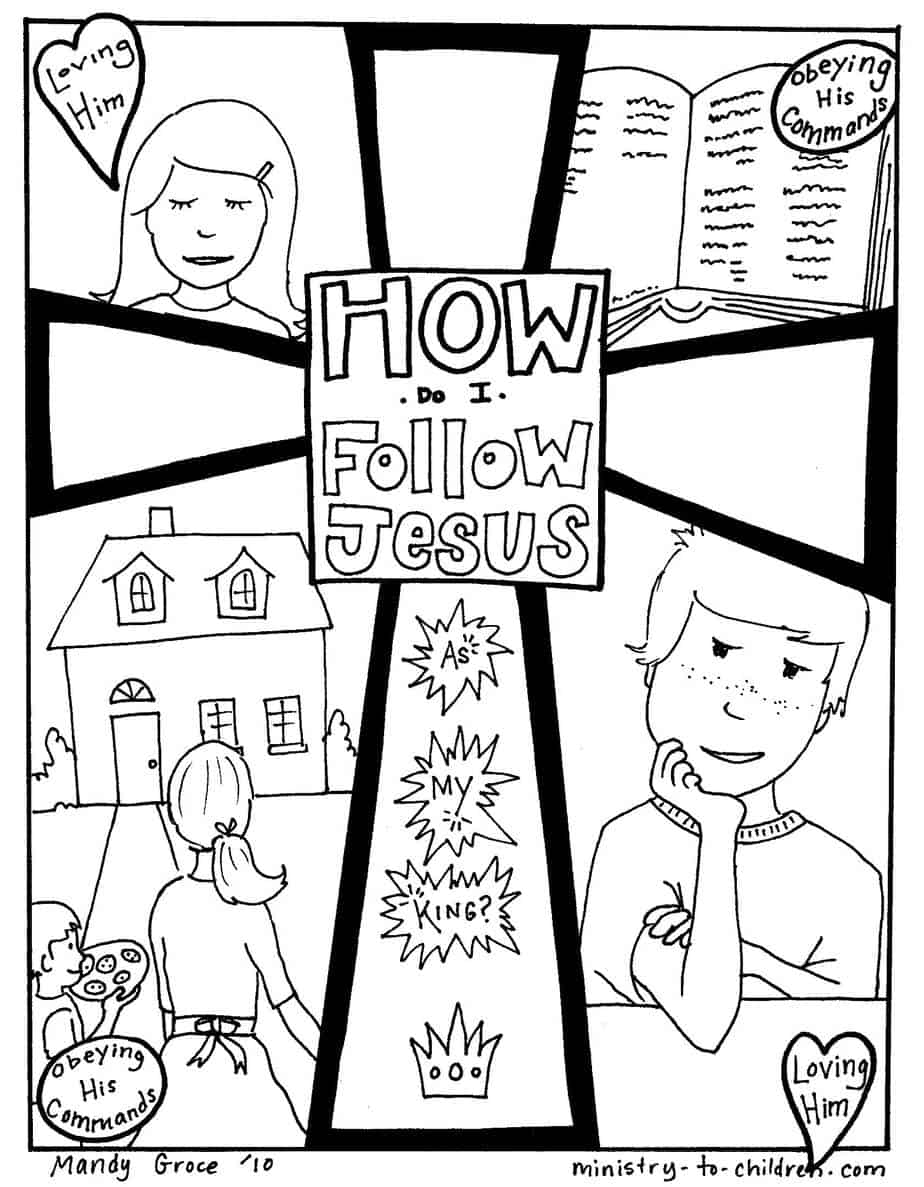 Coloring Pages Jesus And The Children Coloring Pages how do i follow jesus gospel coloring page image