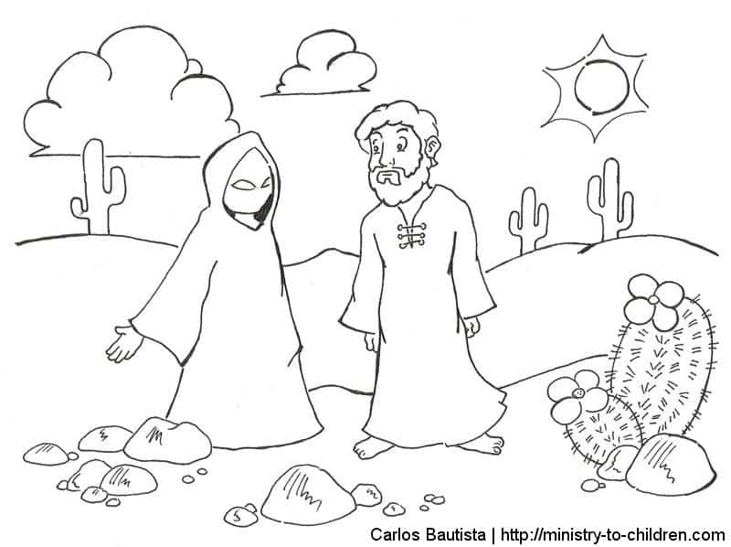 Jesus Overes Temptations Coloring
