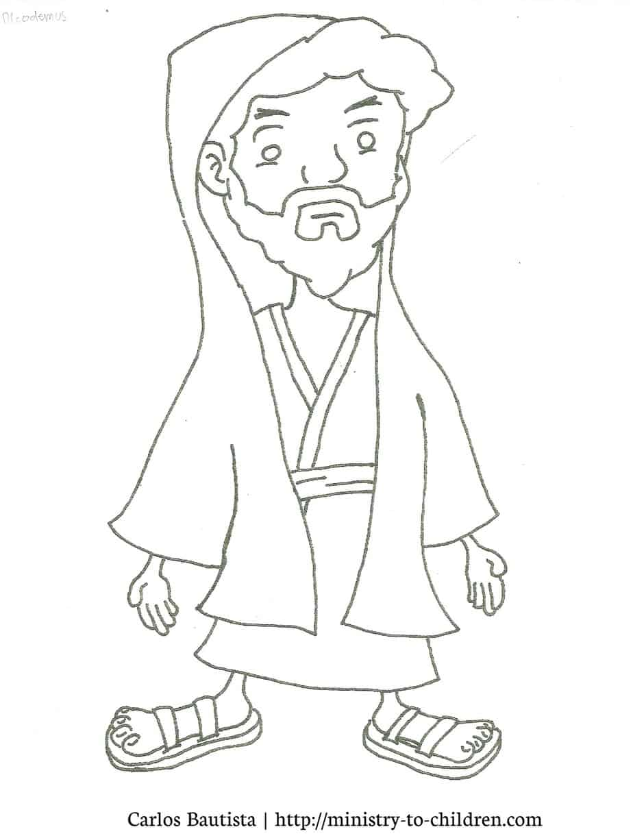 Free coloring pages jesus and nicodemus -  Resolution Jpeg File