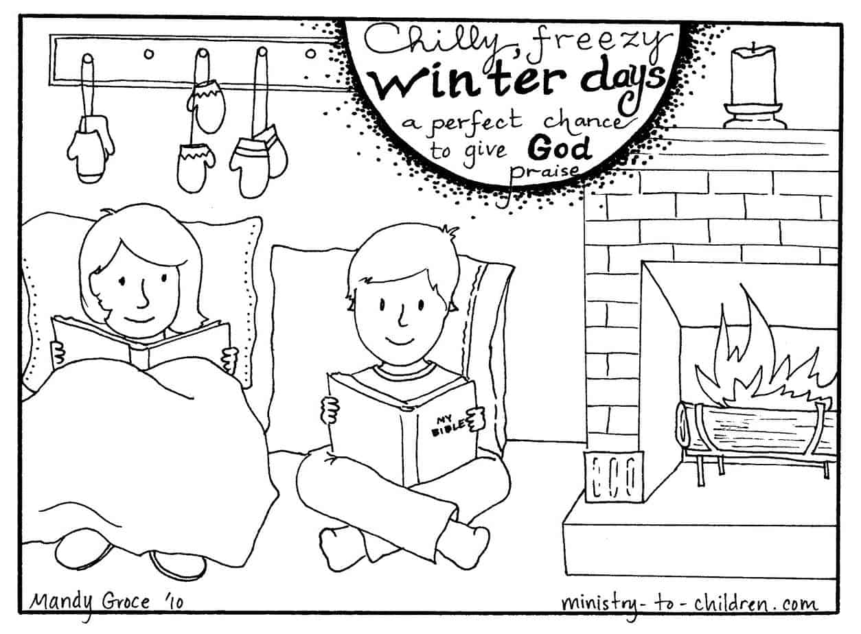 Winter pages to color -  Image