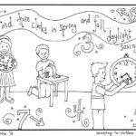 Daylight Savings Time Coloring Page (free printable)