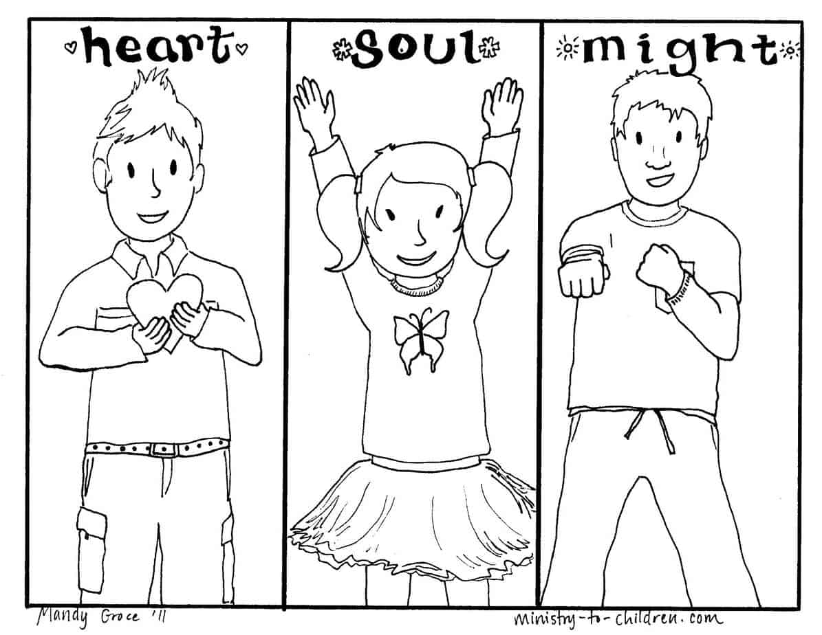 Greatest commandment heart soul might bible coloring page