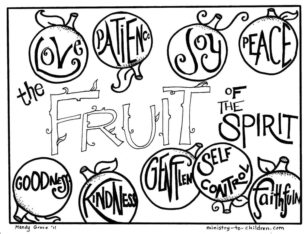 Printable coloring pages about the bible - Fruit Of The Spirit