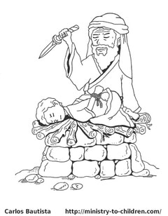 Abraham attempts to sacrifice his son Isaac