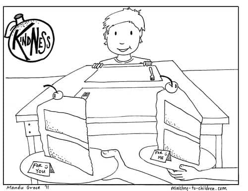 Sharing and kindness coloring page.