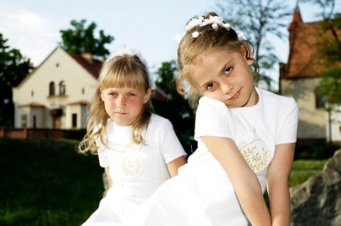 little girls dressed for church