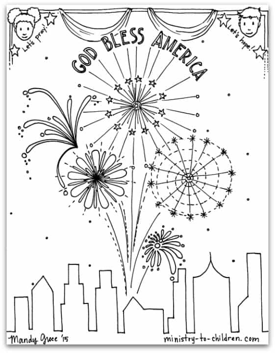 free pdf july 4th coloring page god bless america
