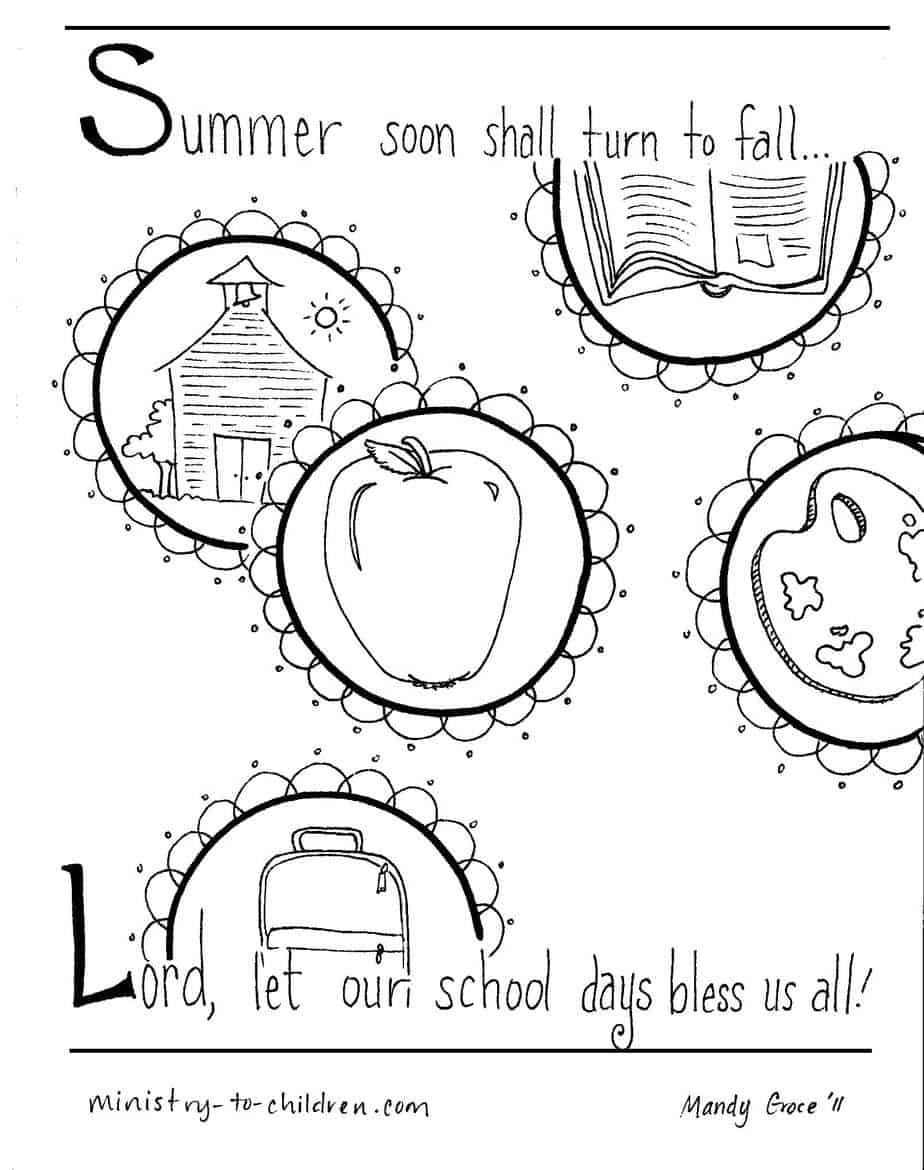 Coloring pages for back to school - Printable Pdf Higher Resolution Jpeg This Religious Back To School Coloring Page