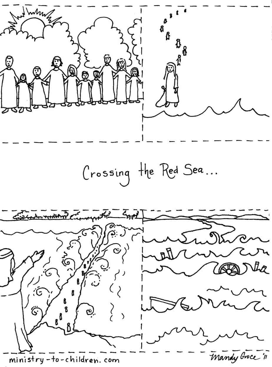 Moses Parts The Red Sea Coloring Pages - Atkinson Flowers