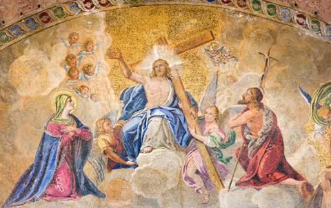 entrance mosaic st marks basillica venice italy