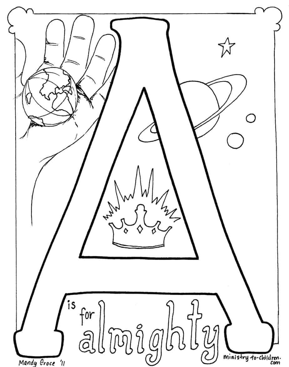 A is for Almighty Coloring Page