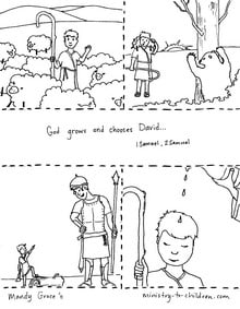 Coloring Pages David Fights Goliath  Becomes King