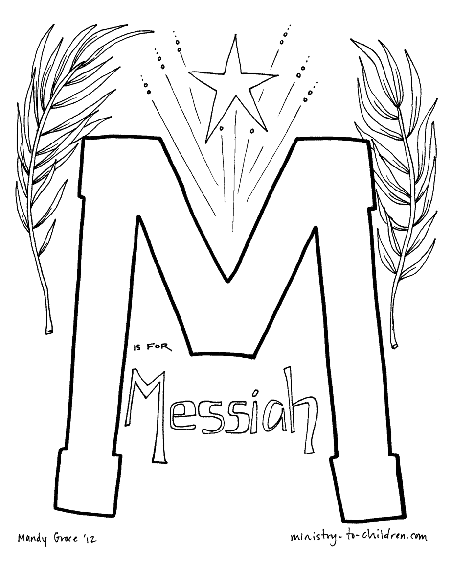 M is for Messiah Bible Alphabet Coloring Page