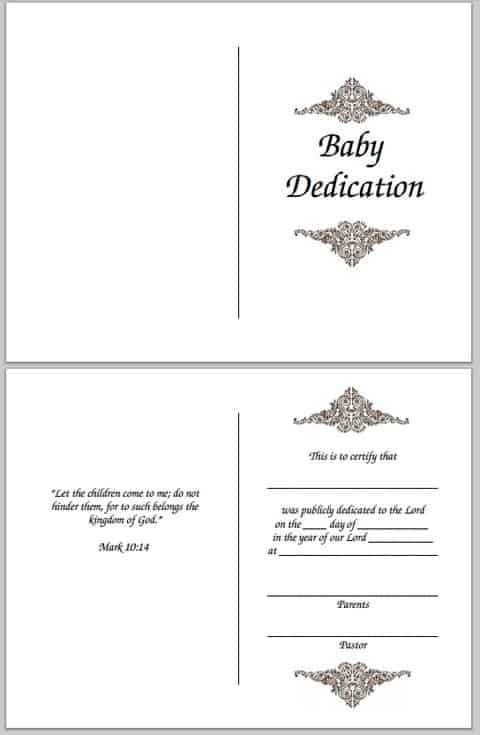 Baby Dedication Certificate Free Printable – Baby Dedication Certificates Templates