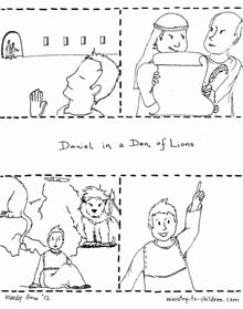 Daniel and the Lion's coloring page