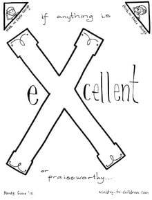 Printable letter X coloring page