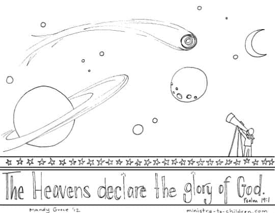 Printable Psalm 19 coloring sheet
