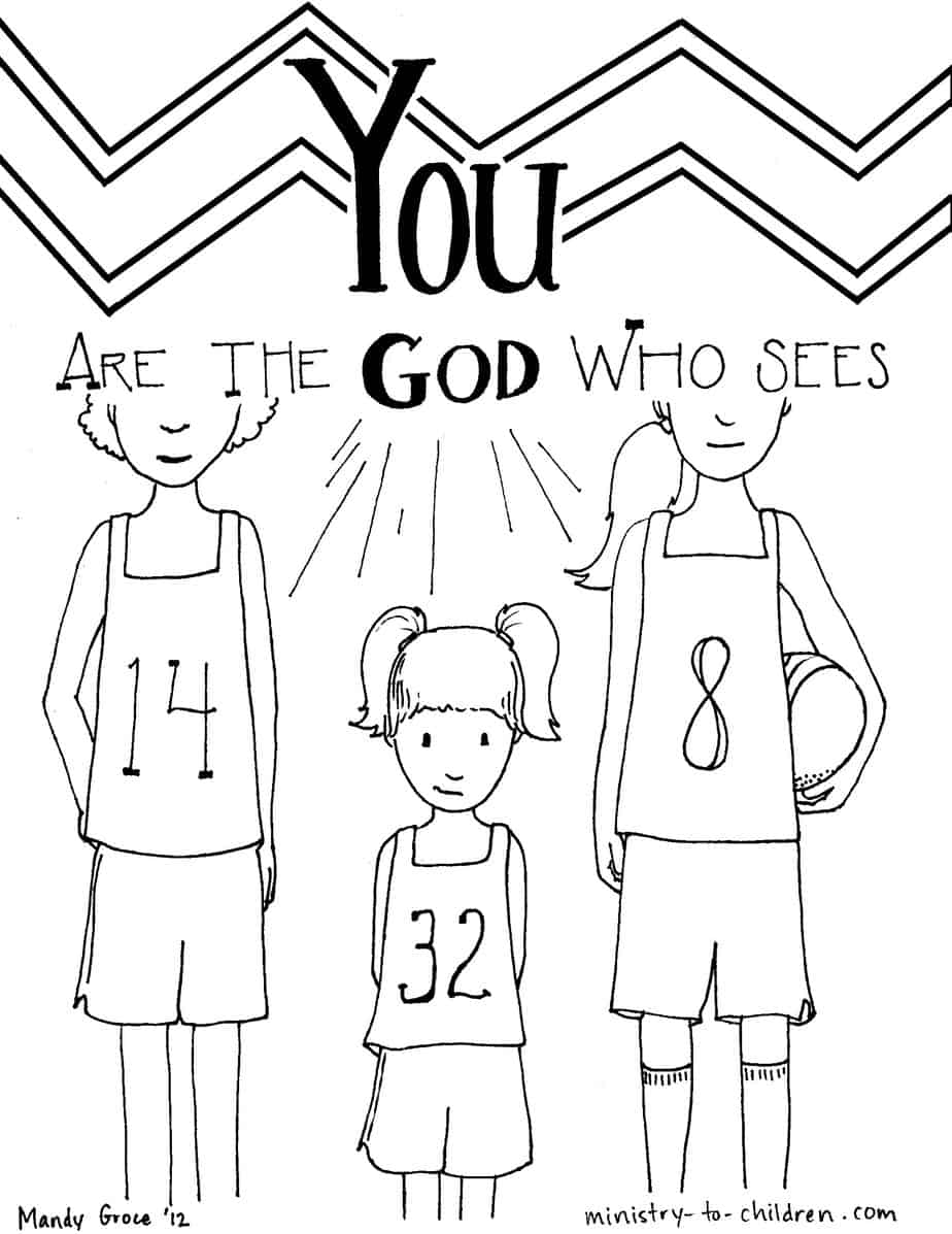 Childrens coloring pages bible - God Who Sees Coloring Page From Genesis 1613