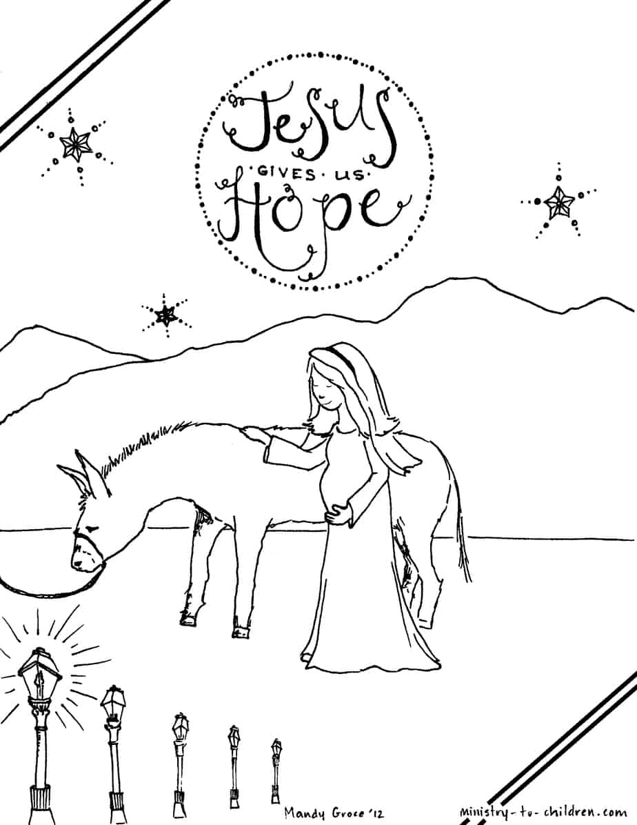 Coloring sheet mary and joseph bethlehem -  Image