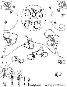 shepherds in the fields u201d coloring sheet on christmas joy coloring pages