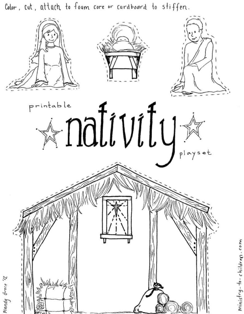 Free coloring pages nativity scene - Jesus In The Manger Coloring Pages Nativity Playset Craft