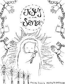 Baby Jesus is our Savior Coloring Page for Advent