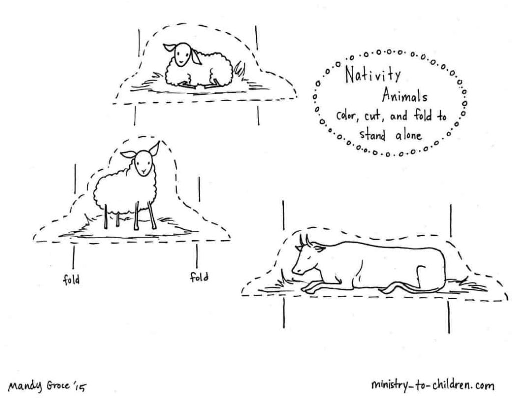 Colouring sheets nativity scene - Nativity Animals Coloring Page