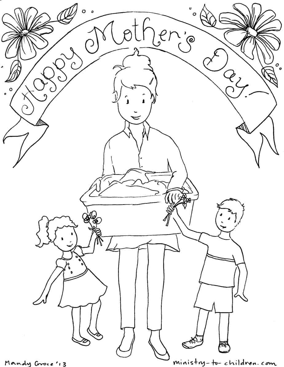 Mothers day colouring pictures to print -  Image