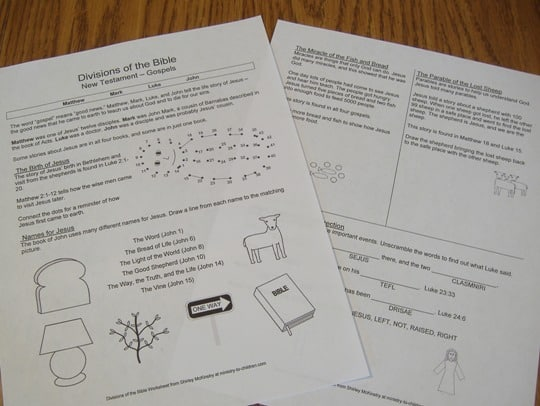 """New Testament Gospels"" Review Worksheets for Children"