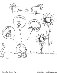 Time to Pray coloring page for children