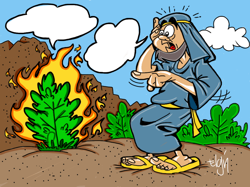 This cartoon illustration of moses and the burning bush could be used