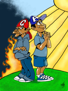 Cartoon Caricature picture of Cain and Abel