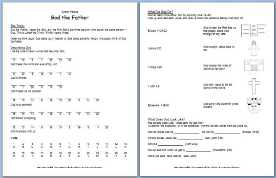 Printables Bible Worksheets For Preschoolers god the father free bible worksheet about trinity printable worksheet