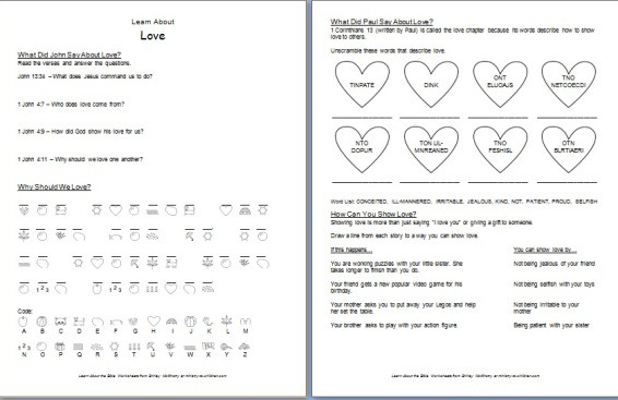 Printables Children Bible Study Worksheets learn about bible worksheets printable love worksheet