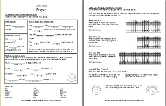 """Learn about Prayer"" Free printable Bible worksheet"
