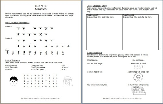 Worksheets Free Bible Worksheets free bible worksheets learn about miracles for children this worksheet