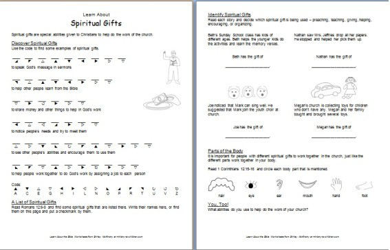 Printables Bible Worksheets For Youth learn about spiritual gifts printable bible worksheets worksheet gifts