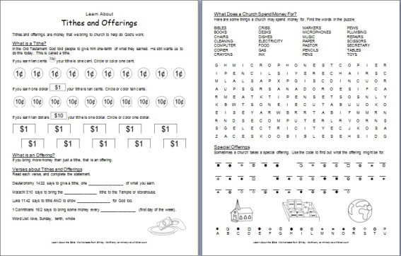 "Learn about Tithes and Offerings"" Bible Worksheet"