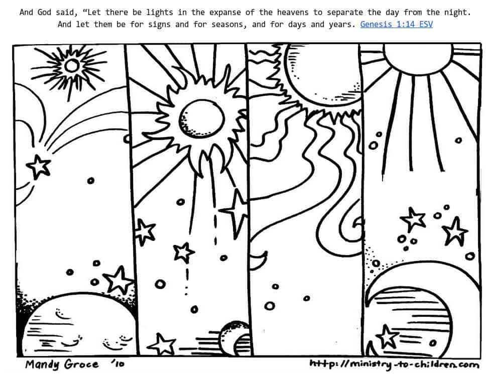 Genesis 114 Coloring Sheets  God Made Day  Night