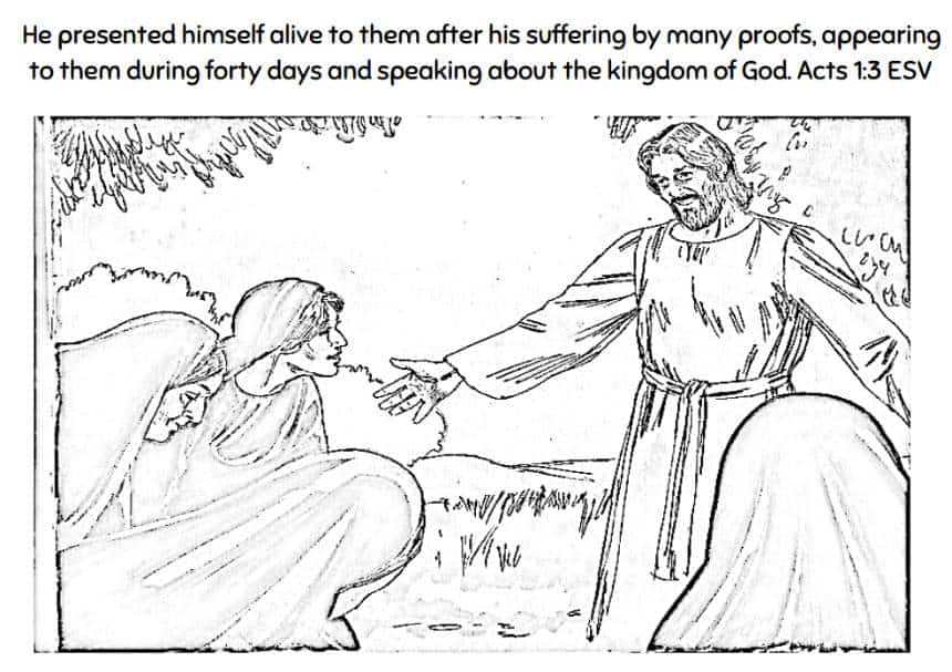 Acts 1:3 Resurrected Jesus Coloring Page