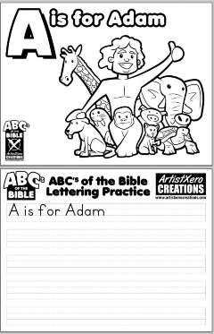 """A is for Adam"" coloring pages"