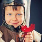 boy in battle armor costume