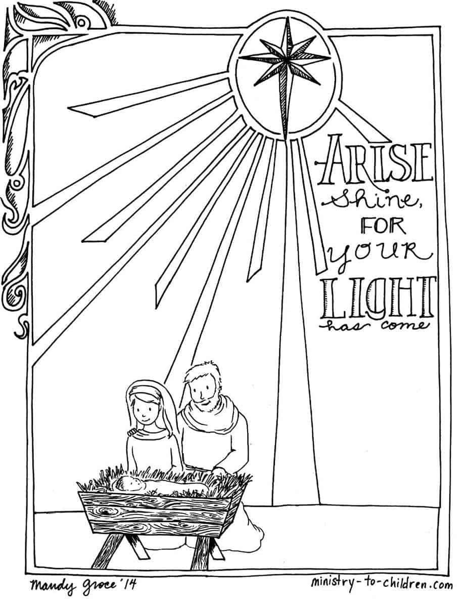 Free coloring pages nativity scene - Printable Christmas Nativity Coloring Pages