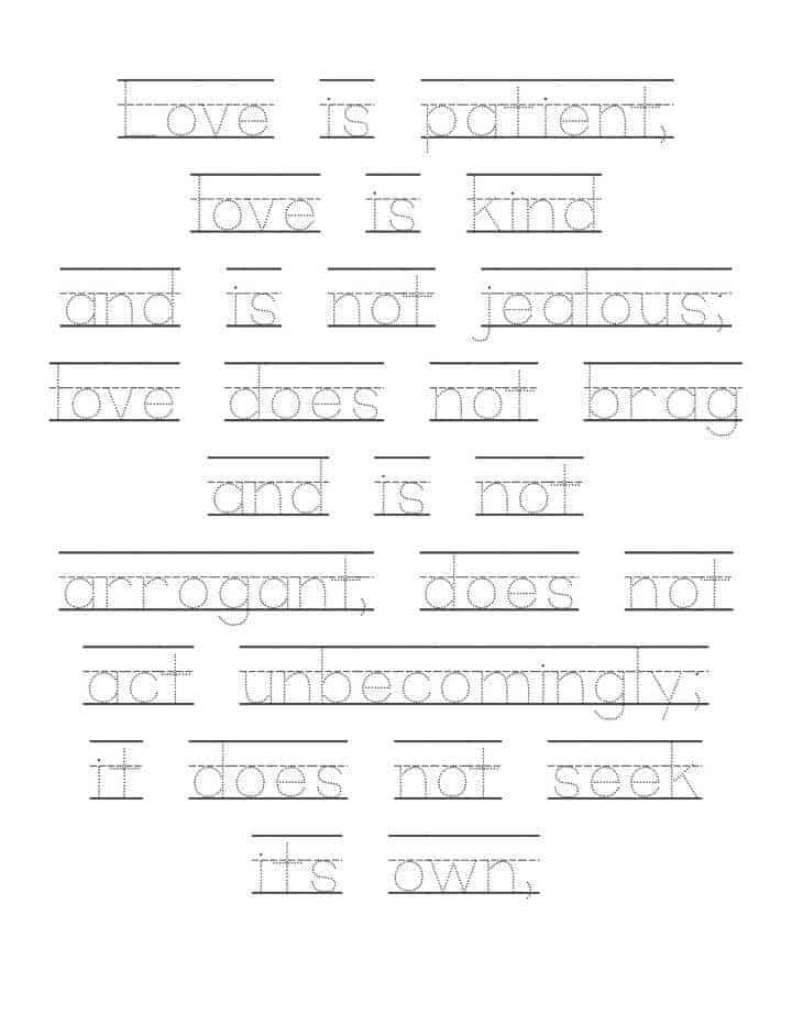 "Love Is…"" 1 Corinthians 13:4-8 Letter Tracing Worksheets"