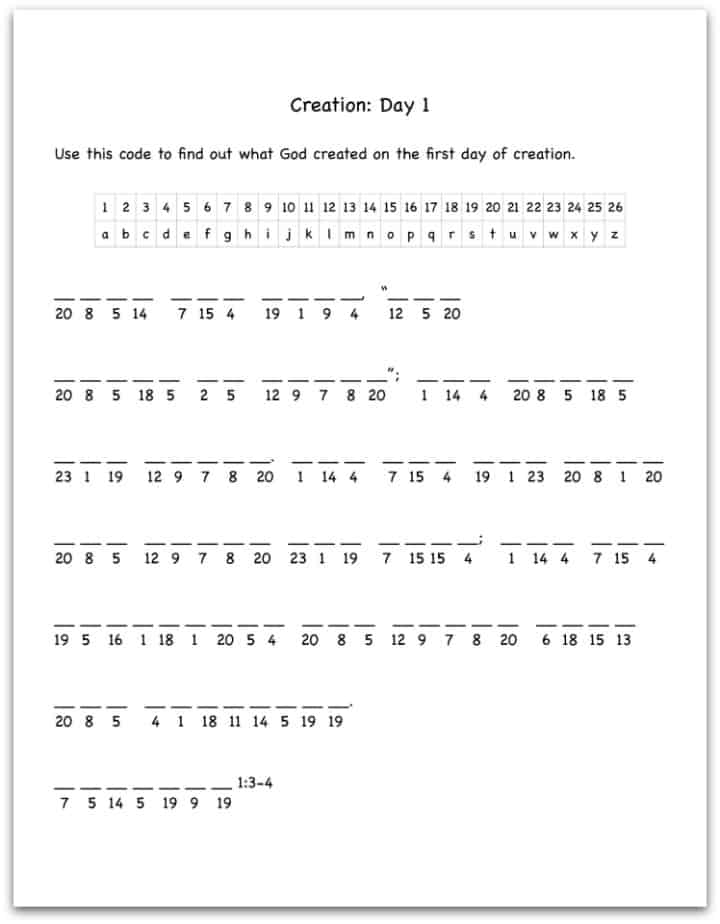 Worksheet Bible Story Worksheets creation day 1 bible verse decoding worksheet